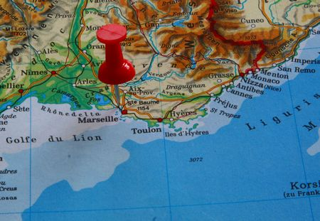 Pointing out Marseilles on a map