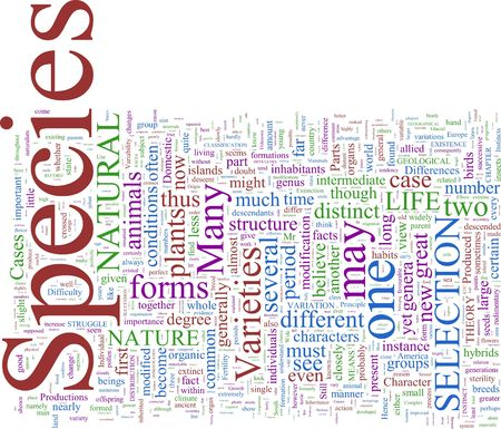 A word cloud based on Darwins The Origin of Species Stock Photo