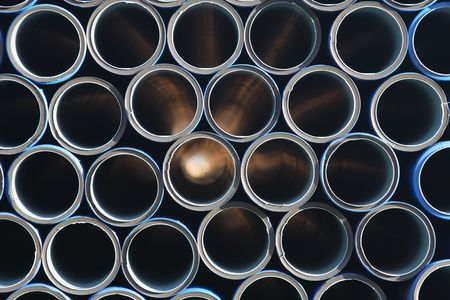 An array of blue tubes Stock Photo