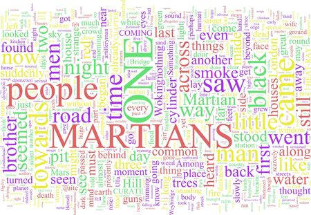 A word cloud based on Wells War of the Worlds Stock Photo