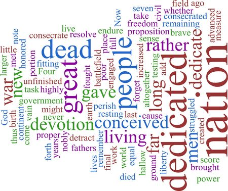 A word cloud based on Lincolns Gettysburg address Stock Photo