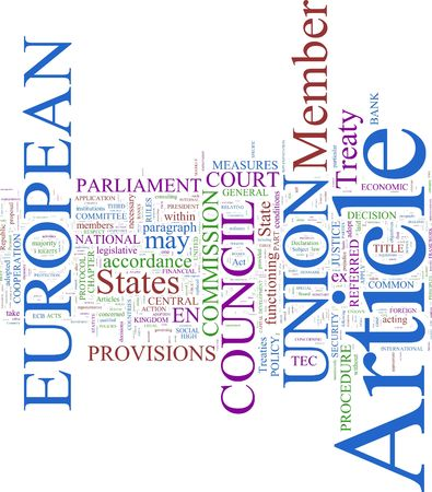 verdrag: Een woord wolk op basis van het Verdrag van Lissabon de Europese Unie