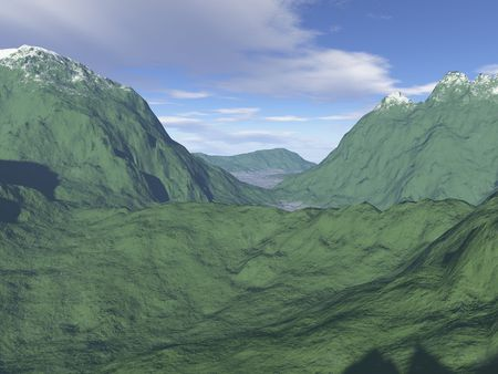 A Computer-generated Mountain Landscape Stock Photo