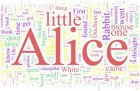 alice au pays des merveilles: Word Cloud - Alice au pays des merveilles Banque d'images