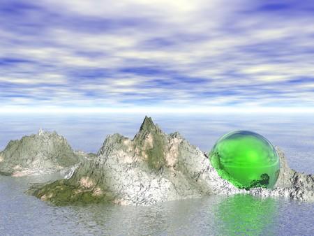cgi: Abstract - Sphere on rocks (CGI)