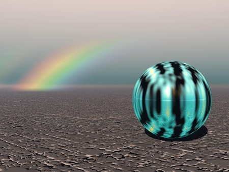 Abstract - Colourful Sphere with Rainbow (CGI) photo