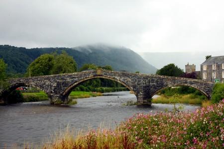 Bridge in Llanwrst in the Mist, North Wales, UK