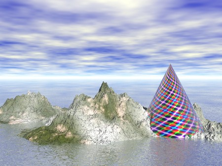 Abstract - Rocky Island with Colour Cone photo