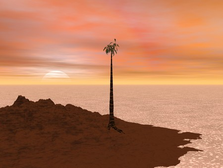 Computer Generated Image of a Tropical Island at Sunset Stock Photo - 7678767