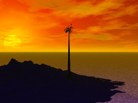 Computer Generated Image of a Tropical Island at Sunset Stock Photo - 7694461