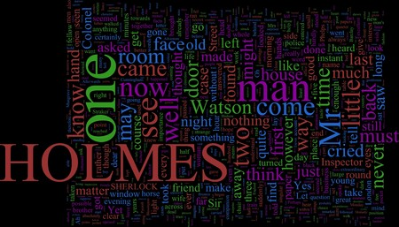 Word Cloud Based on Arthur Conan Doyles Holmes Novels photo