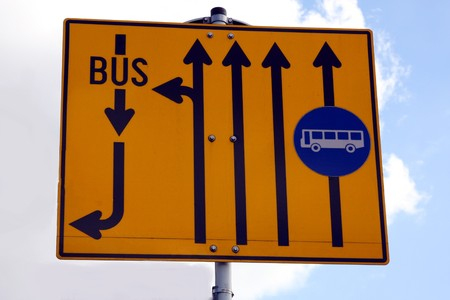 A road sign in Luxembourg showing bus lanes Stock Photo