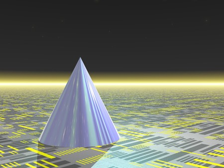 raytracing: Computer Generated Image - Blue Cone on Neutral Background Stock Photo