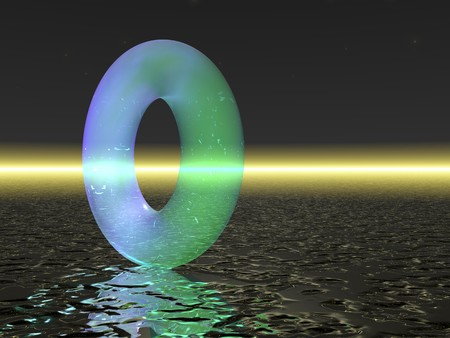 ray tracing: Computer Generated Image - Bluish Transparent Torus on Neutral Background