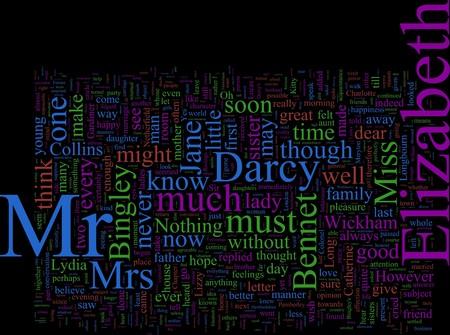 jane: Word Coud based on Jane Austens Price and Prejudice Stock Photo