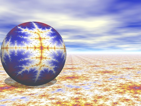A rendering based on fractals and spheres