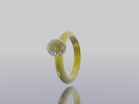 Computer Generated Image of a Gold Ring with a Jewel photo