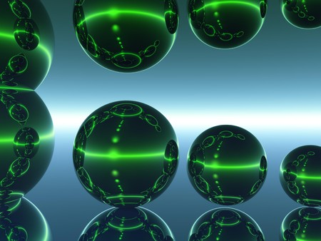 Computer Generated Image of a Reflecting Spheres against a Neutral Background photo