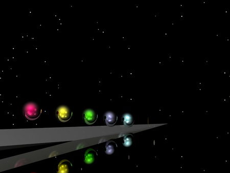 CGI of Colourful Balls against an Abstract Background Stock Photo - 8833624