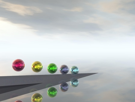 CGI of Colourful Balls against an Abstract Background Stock Photo - 8833626