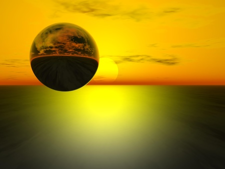 A Reflecting Shiny Sphere Against an Abstract Background