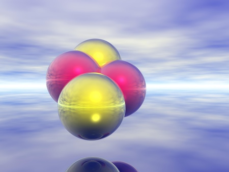Computer Generated Image of Colourful Spheres Against Neutral Background Stock Photo - 9356863