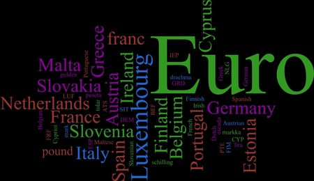 Word Cloud based around the Common European Currency Stock Photo