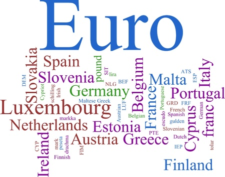 finnish markka: Word Cloud based around the Common European Currency Stock Photo
