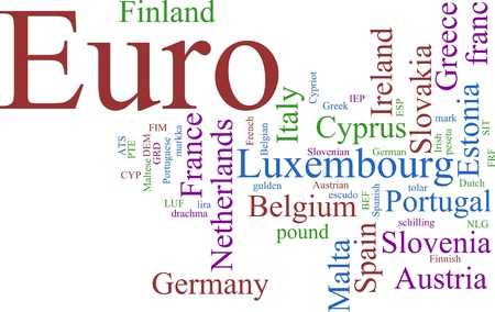 Word Cloud based around the Common European Currency Stock Photo - 9815434