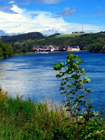 The Moselle River between Mertert and Wasserbillig, Luxembourg, Europe Stock Photo