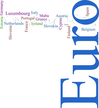 gulden: Word Cloud based around the Common European Currency Stock Photo