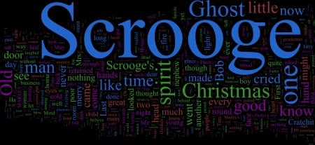 scrooge: Word Cloud based on Charles Dickens Stock Photo