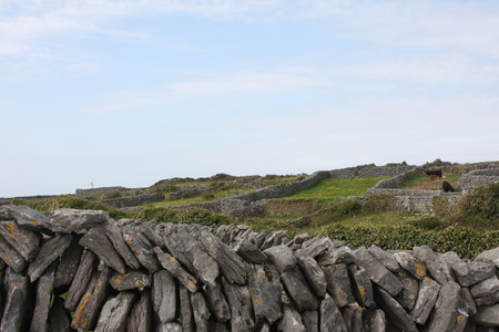 A Dry Stone Wall Against a Blue Sky Stock Photo