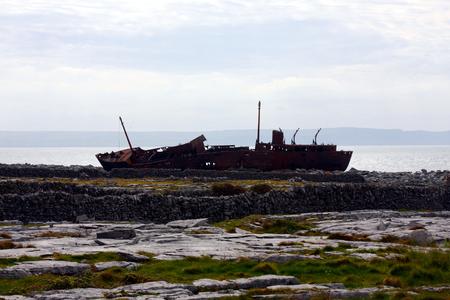 aran islands: Metal Wreck on the Island of Inishmaan, Ireland