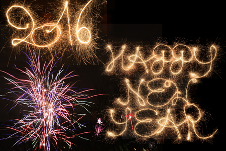 hogmanay: Happy New Year 2016, written with sparklers