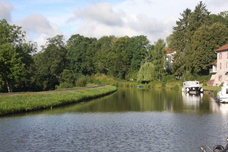 Pleasure boats on the Canal des Vosges, France