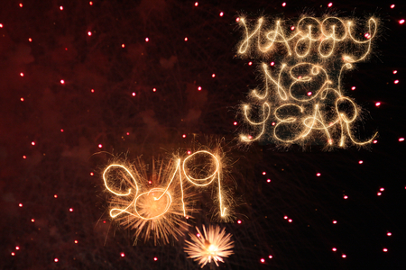 Happy New Year 2019 written with sparklers