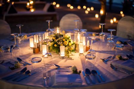 결혼식 테이블 설정 야외 스톡 콘텐츠