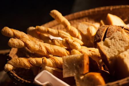 Sliced bread on basket closeup photo
