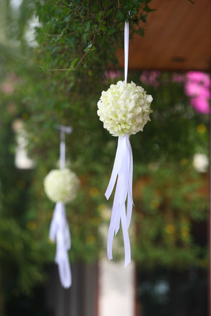 venue: Flowers at an outdoor wedding venue.