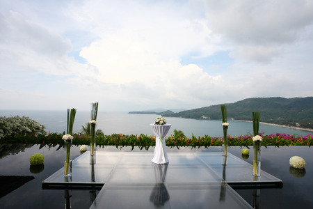 wedding ceremony: Floral arrangement at a wedding ceremony
