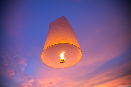 hot air balloons festival: Floating lanterns in the evening sky at Thailand