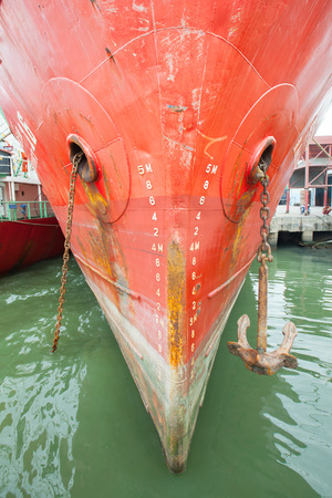 ship bow: bow of a ship with draft scale numbering