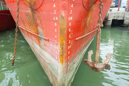 numbering: bow of a ship with draft scale numbering