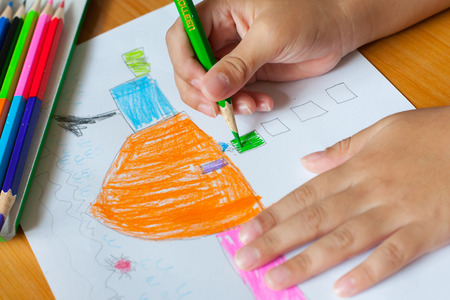 kid drawing: Childrens drawing and painting in the house.