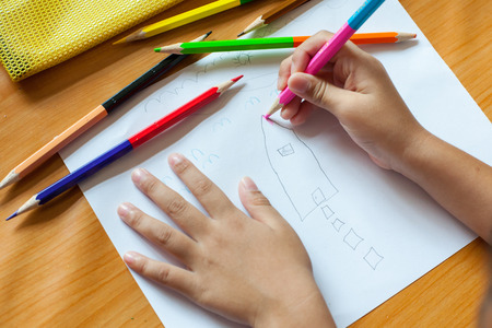 child's: Childrens drawing and painting in the house.