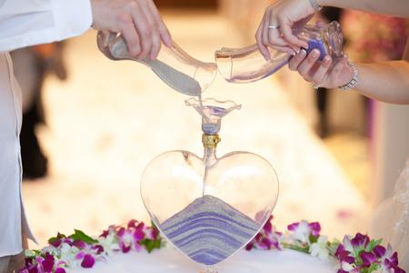 Blending of the sands at wedding ceremony Standard-Bild