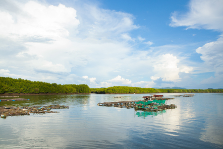 coop: The coop for feeding fish in south of Thailand sea.