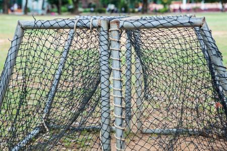 soccer net: Gold soccer net in school at Thailand.