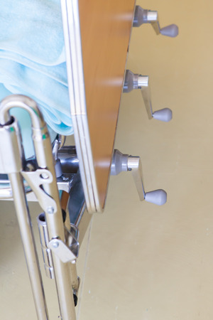 adjustable: The adjustable patient beds in hospital room.
